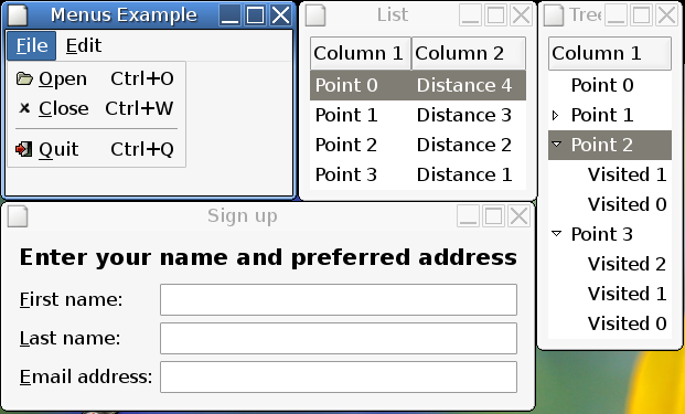 screenshot of four mGTK examples